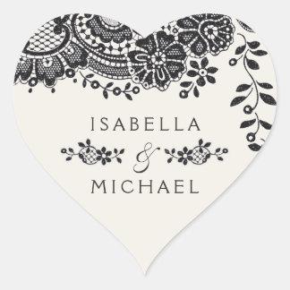 Adesivo Coração Favor elegante preto do casamento do laço do
