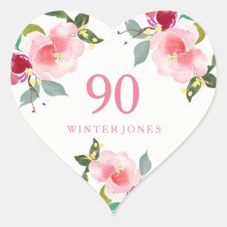 Adesivo Coração Festa de aniversário floral cor-de-rosa bonito do