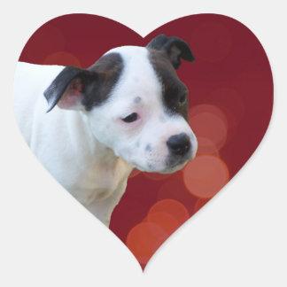 Adesivo Coração Filhote de cachorro preto e branco de
