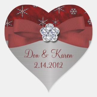 Adesivo Coração Flocos de neve vermelhos da veludinha & da prata