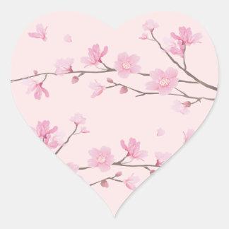Adesivo Coração Flor de cerejeira - rosa