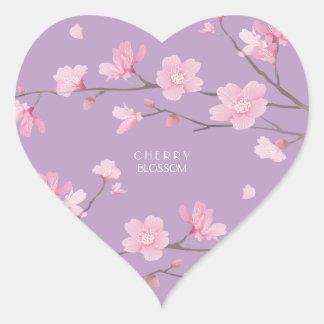 Adesivo Coração Flor de cerejeira - Transparente-Fundo