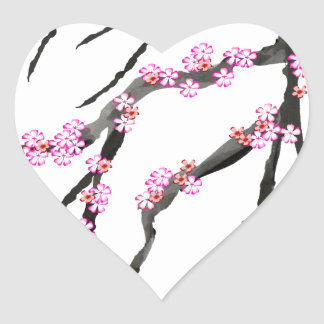 Adesivo Coração Flor de cerejeira vermelha 32, Tony Fernandes