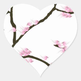 Adesivo Coração flor de sakura com pássaros cor-de-rosa, fernandes