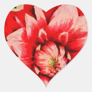 Adesivo Coração Flor vermelha grande