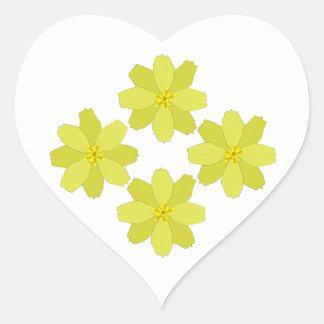 Adesivo Coração Flores amarelas tropicais de Bush