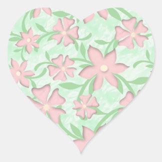 Adesivo Coração Flores cor-de-rosa do primavera da flor de Sakura