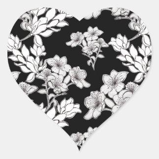 Adesivo Coração flores de noite