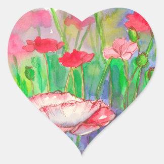 Adesivo Coração Flores vermelhas da papoila da aguarela