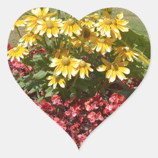 Adesivo Coração Flowerbed dos coneflowers e das begónias