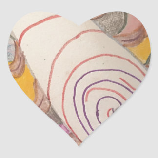 Adesivo Coração Flutuação no vácuo do arco-íris