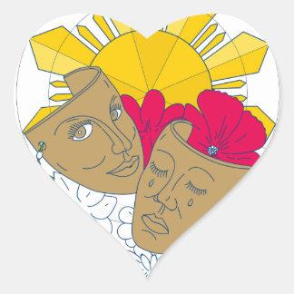 Adesivo Coração Fluxo filipino de Sampaguita do hibiscus de Sun da