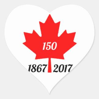 Adesivo Coração Folha de bordo de Canadá 150 em 2017