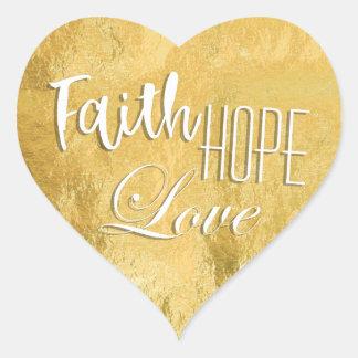 Adesivo Coração Folha de ouro do amor da esperança da fé