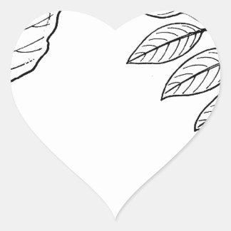 Adesivo Coração Folhas botânicas do vintage