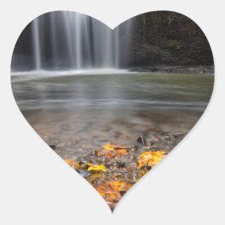 Adesivo Coração Folhas de bordo da queda na cachoeira escondida