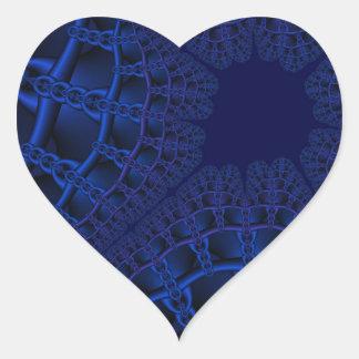 Adesivo Coração Fractal azul elétrico