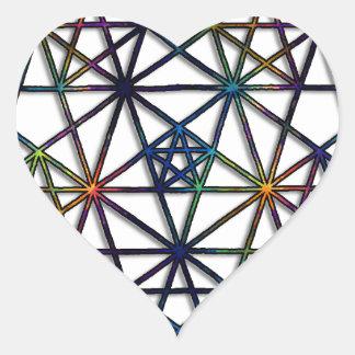 Adesivo Coração Fractal sagrado da geometria da abundância da vida
