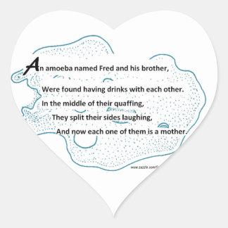 Adesivo Coração Fred a ameba - um poema da ciência de