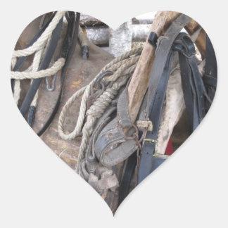 Adesivo Coração Freios e bocados de couro gastos do cavalo