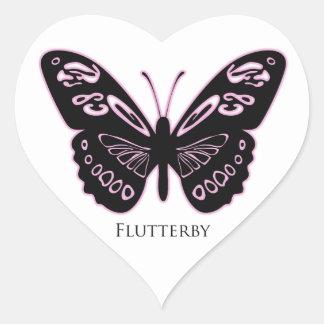 Adesivo Coração Fulgor cor-de-rosa preto de Flutterby
