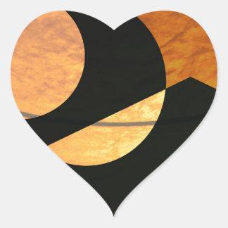 Adesivo Coração Fulgor dos planetas, preto e cobre, design gráfico
