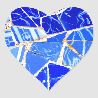 Adesivo Coração Fundo azul abstrato