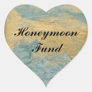 Adesivo Coração Fundo de cobre da lua de mel de turquesa