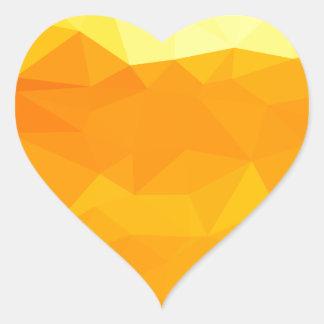 Adesivo Coração Fundo do polígono do abstrato do amarelo do Cyber