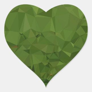 Adesivo Coração Fundo do polígono do abstrato do verde da