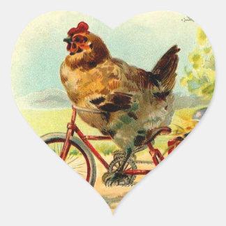 Adesivo Coração Galinha da páscoa do vintage em uma bicicleta