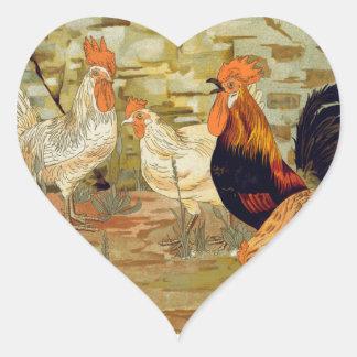 Adesivo Coração Galos e galinhas