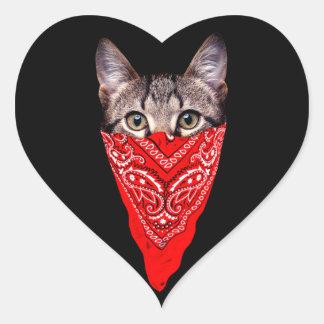 Adesivo Coração gato do gângster - gato do bandana - grupo do gato
