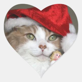 Adesivo Coração Gato do papai noel - gato do Natal - gatinhos