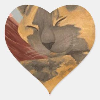 Adesivo Coração Gato do sono da flor de cerejeira