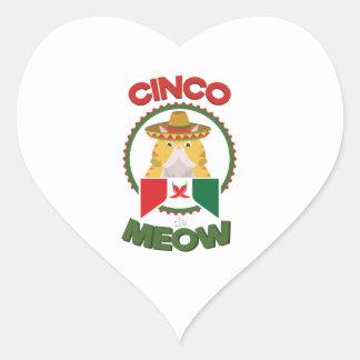 Adesivo Coração Gato engraçado para o feriado do mexicano de Cinco