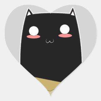 Adesivo Coração Gato preto em uma caixa