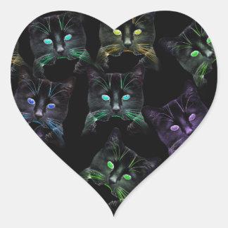 Adesivo Coração Gatos legal no preto! gatos Multi-coloridos