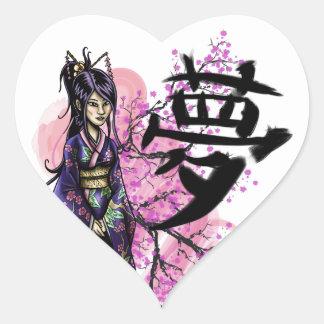 Adesivo Coração Geisha