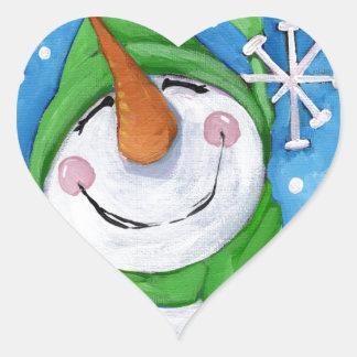 Adesivo Coração Gelado o boneco de neve feliz