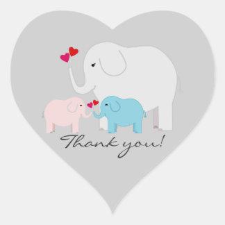 Adesivo Coração Gêmeos menino e obrigado do elefante da menina