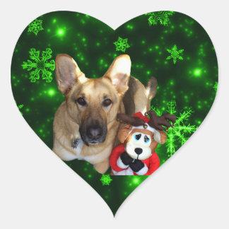 Adesivo Coração German shepherd, rena do brinquedo, flocos de neve
