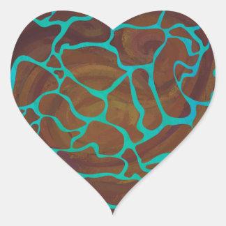 Adesivo Coração Girafa Brown e impressão da cerceta
