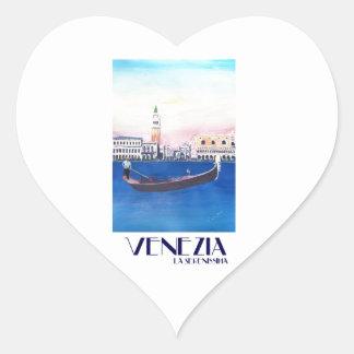 Adesivo Coração Gôndola de Veneza Italia no canal grande com San