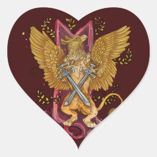 Adesivo Coração Gryphon místico com espadas