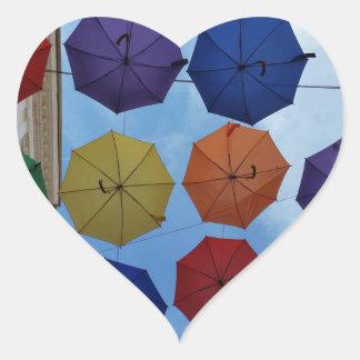 Adesivo Coração Guarda-chuvas coloridos