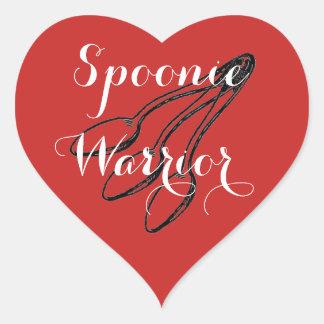 Adesivo Coração Guerreiro de Spoonie - vermelho brilhante