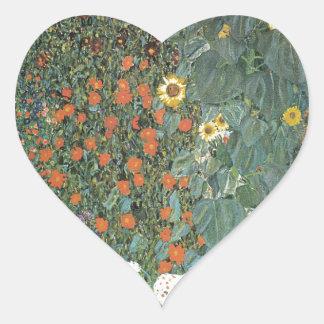 Adesivo Coração Gustavo Klimt - flores dos girassóis do jardim do