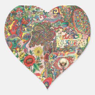 Adesivo Coração H081 1969 psicadélico