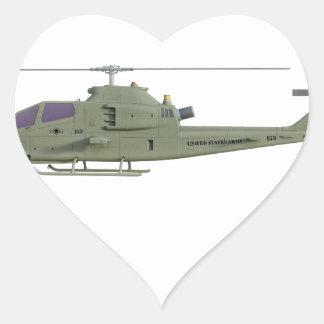 Adesivo Coração Helicóptero de Apache no perfil da vista lateral